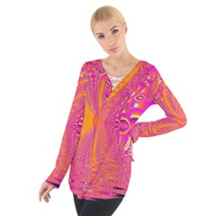 Magenta Boardwalk Carnival, Abstract Ocean Shimmer Women s Tie Up Tee