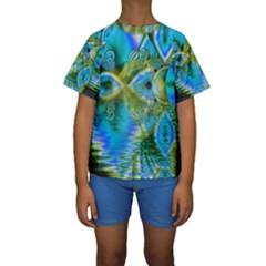 Mystical Spring, Abstract Crystal Renewal Kid s Short Sleeve Swimwear