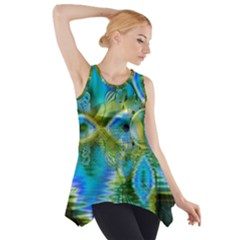 Mystical Spring, Abstract Crystal Renewal Side Drop Tank Tunic
