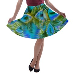 Mystical Spring, Abstract Crystal Renewal A Line Skater Skirt