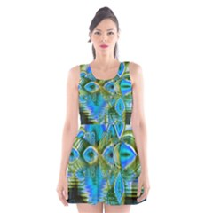 Mystical Spring, Abstract Crystal Renewal Scoop Neck Skater Dress