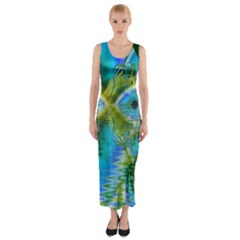Mystical Spring, Abstract Crystal Renewal Fitted Maxi Dress