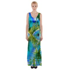 Mystical Spring, Abstract Crystal Renewal Maxi Thigh Split Dress