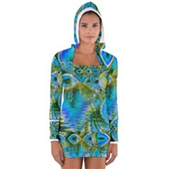 Mystical Spring, Abstract Crystal Renewal Women s Long Sleeve Hooded T Shirt