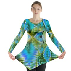 Mystical Spring, Abstract Crystal Renewal Long Sleeve Tunic