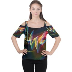 Northern Lights, Abstract Rainbow Aurora Women s Cutout Shoulder Tee