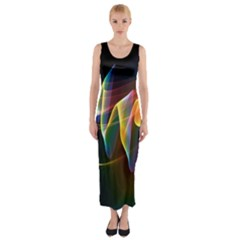 Northern Lights, Abstract Rainbow Aurora Fitted Maxi Dress