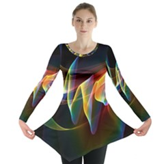 Northern Lights, Abstract Rainbow Aurora Long Sleeve Tunic