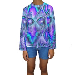 Peacock Crystal Palace Of Dreams, Abstract Kid s Long Sleeve Swimwear