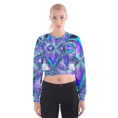 Peacock Crystal Palace Of Dreams, Abstract Women s Cropped Sweatshirt