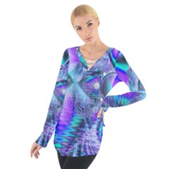 Peacock Crystal Palace Of Dreams, Abstract Women s Tie Up Tee