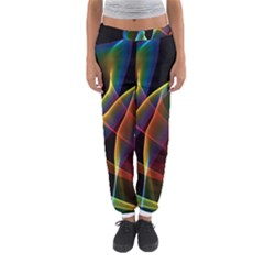 Peacock Symphony, Abstract Rainbow Music Women s Jogger Sweatpants