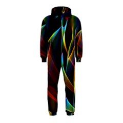 Peacock Symphony, Abstract Rainbow Music Hooded Jumpsuit (kids)