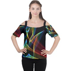 Peacock Symphony, Abstract Rainbow Music Women s Cutout Shoulder Tee