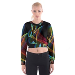 Peacock Symphony, Abstract Rainbow Music Women s Cropped Sweatshirt