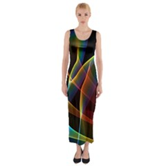 Peacock Symphony, Abstract Rainbow Music Fitted Maxi Dress