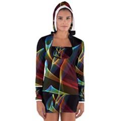 Peacock Symphony, Abstract Rainbow Music Women s Long Sleeve Hooded T-shirt