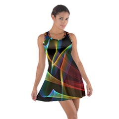 Peacock Symphony, Abstract Rainbow Music Racerback Dresses