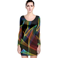 Peacock Symphony, Abstract Rainbow Music Long Sleeve Velvet Bodycon Dress