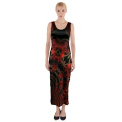 Phenomenon, Orange Gold Cosmic Explosion Fitted Maxi Dress