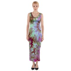 Raspberry Lime Delighraspberry Lime Delight, Abstract Ferris Wheel Fitted Maxi Dress