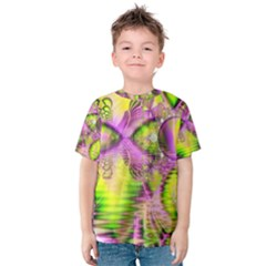 Raspberry Lime Mystical Magical Lake, Abstract  Kid s Cotton Tee
