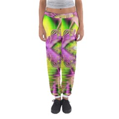 Raspberry Lime Mystical Magical Lake, Abstract  Women s Jogger Sweatpants