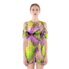 Raspberry Lime Mystical Magical Lake, Abstract  Cutout Shoulder Dress