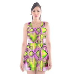 Raspberry Lime Mystical Magical Lake, Abstract  Scoop Neck Skater Dress