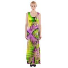 Raspberry Lime Mystical Magical Lake, Abstract  Maxi Thigh Split Dress