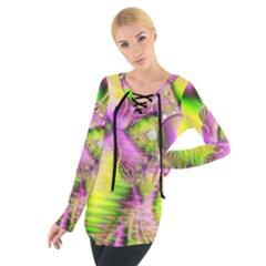 Raspberry Lime Mystical Magical Lake, Abstract  Women s Tie Up Tee