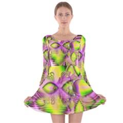 Raspberry Lime Mystical Magical Lake, Abstract  Long Sleeve Velvet Skater Dress