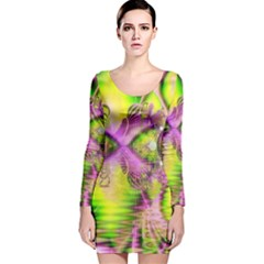 Raspberry Lime Mystical Magical Lake, Abstract  Long Sleeve Velvet Bodycon Dress
