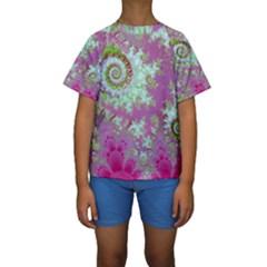 Raspberry Lime Surprise, Abstract Sea Garden  Kid s Short Sleeve Swimwear