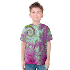 Raspberry Lime Surprise, Abstract Sea Garden  Kid s Cotton Tee