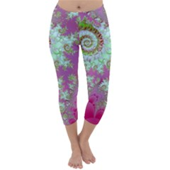 Raspberry Lime Surprise, Abstract Sea Garden  Capri Winter Leggings