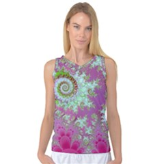 Raspberry Lime Surprise, Abstract Sea Garden  Women s Basketball Tank Top