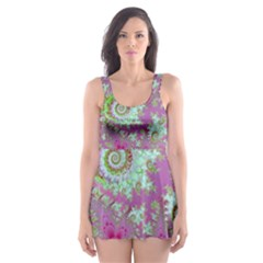 Raspberry Lime Surprise, Abstract Sea Garden  Skater Dress Swimsuit