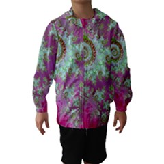 Raspberry Lime Surprise, Abstract Sea Garden  Hooded Wind Breaker (Kids)