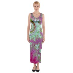 Raspberry Lime Surprise, Abstract Sea Garden  Fitted Maxi Dress