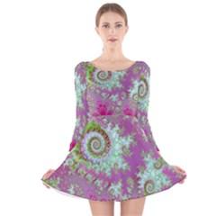 Raspberry Lime Surprise, Abstract Sea Garden  Long Sleeve Velvet Skater Dress