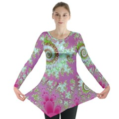 Raspberry Lime Surprise, Abstract Sea Garden  Long Sleeve Tunic