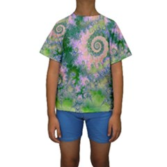 Rose Apple Green Dreams, Abstract Water Garden Kid s Short Sleeve Swimwear