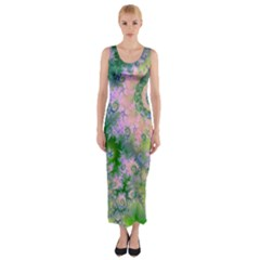 Rose Apple Green Dreams, Abstract Water Garden Fitted Maxi Dress