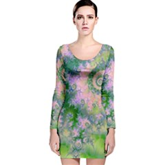 Rose Apple Green Dreams, Abstract Water Garden Long Sleeve Velvet Bodycon Dress