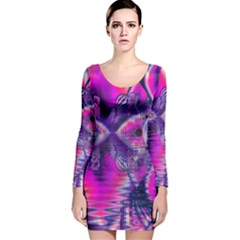 Rose Crystal Palace, Abstract Love Dream  Long Sleeve Velvet Bodycon Dress