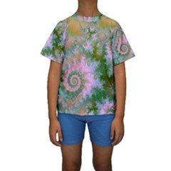 Rose Forest Green, Abstract Swirl Dance Kid s Short Sleeve Swimwear