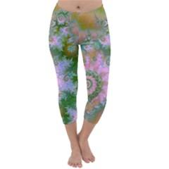 Rose Forest Green, Abstract Swirl Dance Capri Winter Leggings