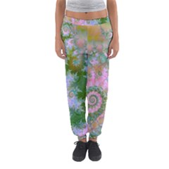 Rose Forest Green, Abstract Swirl Dance Women s Jogger Sweatpants