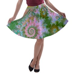 Rose Forest Green, Abstract Swirl Dance A-line Skater Skirt